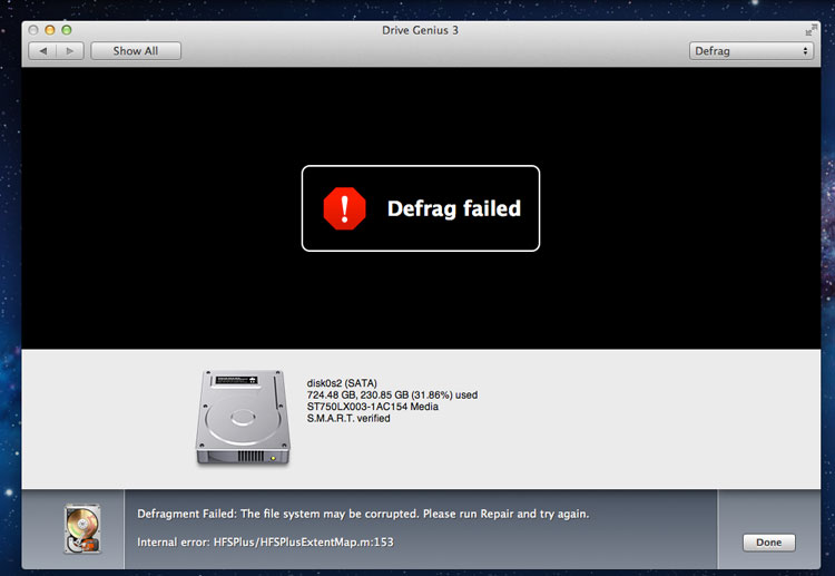 Drive Genius 3 - Defrag Failed